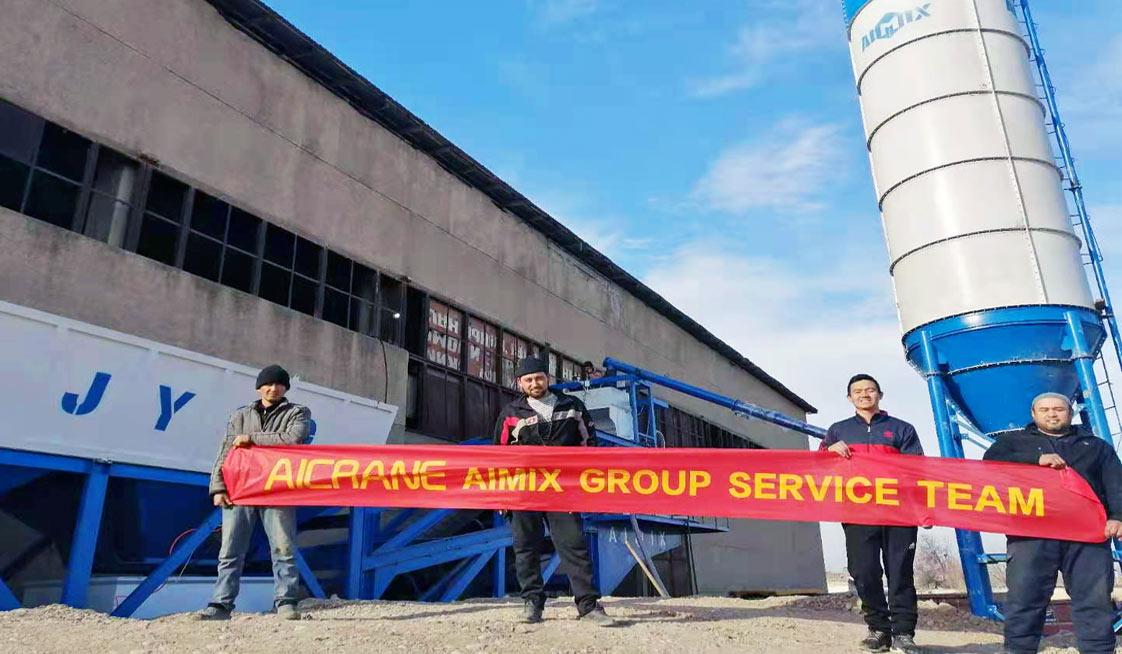 Aimix Мобильный бетонный завод AJY60 установился в Узбекистане