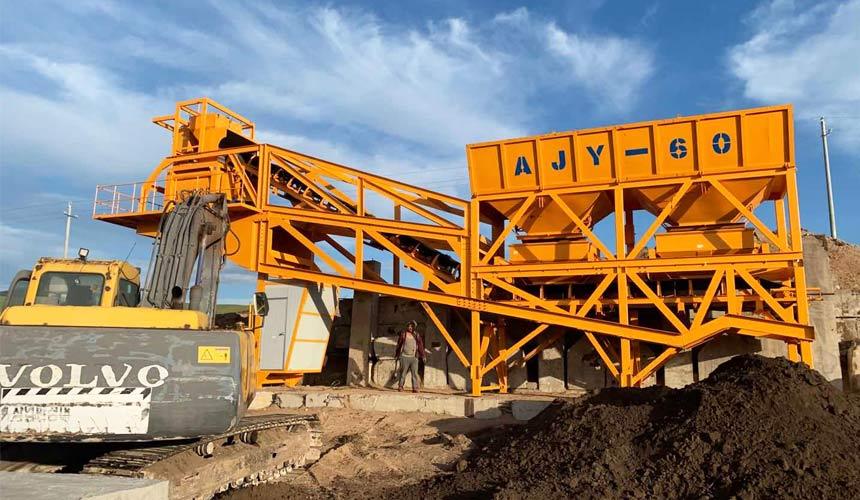 Aimix Мобильный бетонный завод AJY60 в Монголии